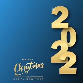 Feliz ano novo e cartão de natal com texto dourado 2022. vector