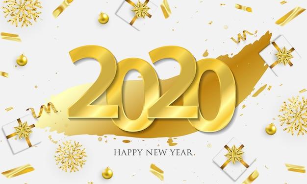 Feliz ano novo e confetes ouro.