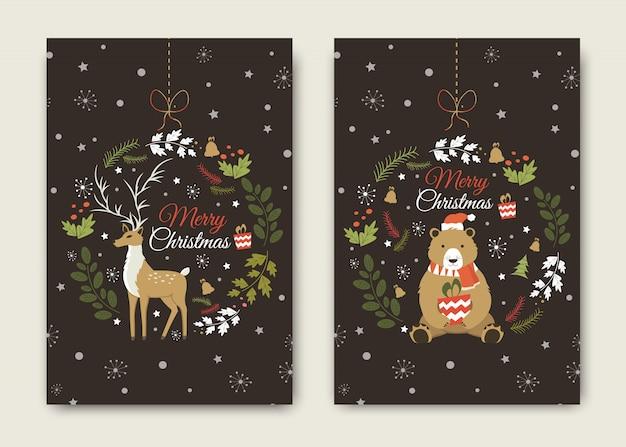 Feliz ano novo e feliz natal cartão com chifres de engraçado papai noel veado e urso.