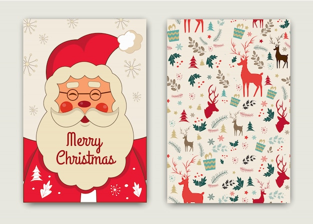 Feliz ano novo e feliz natal cartão com engraçado papai noel.