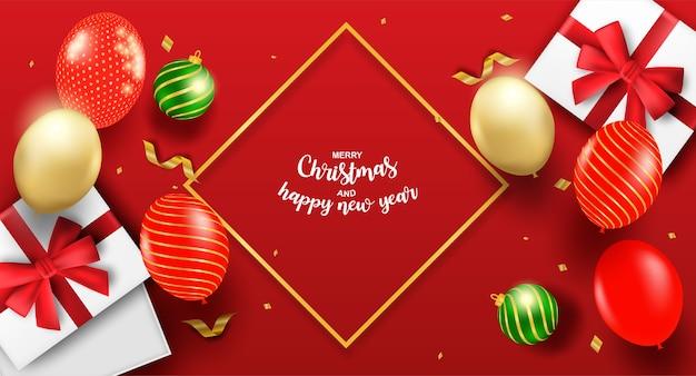 Feliz ano novo e feliz natal. design com caixa de presente e balões em fundo vermelho