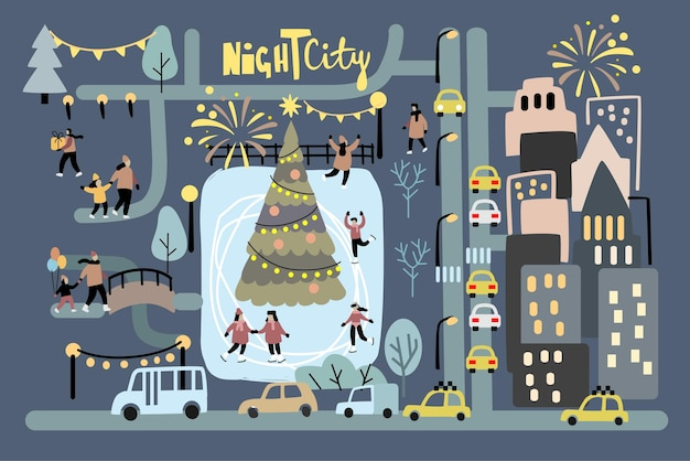 Feliz ano novo e feliz natal inverno cidade noite rua vetor. cidade e pista de patinação
