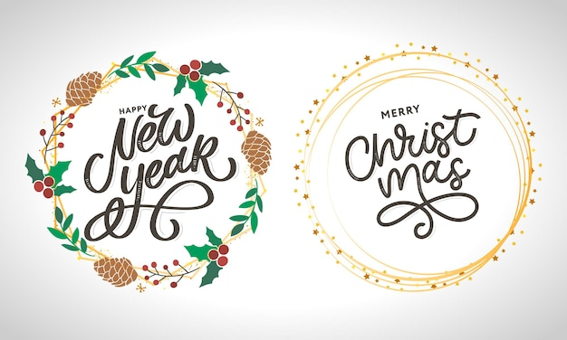 Feliz ano novo e feliz natal letras modernas manuscritas
