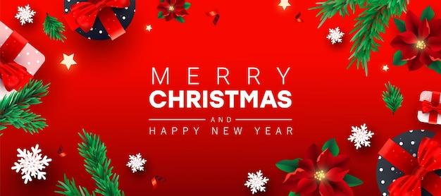 Feliz ano novo e feliz natal saudação horizontal