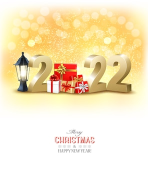 Feliz ano novo e fundo de férias de natal com números 3d dourados com caixas de presente vector