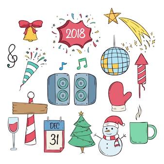 Feliz ano novo e ícones de festa de natal com estilo doodle colorido