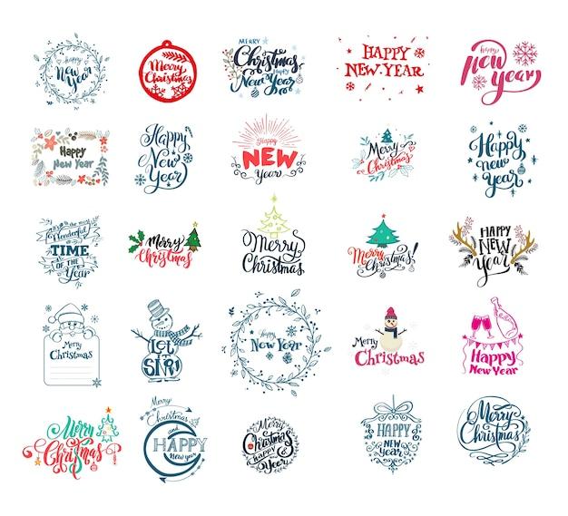 Feliz ano novo e natal lettering coleção