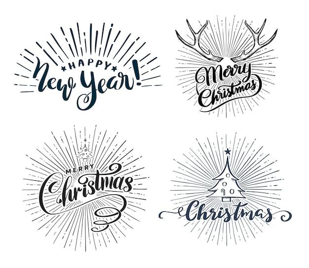 Feliz ano novo e natal lettering