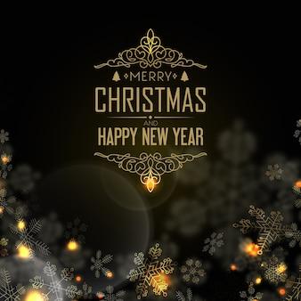 Feliz ano novo e postal de natal com véspera, luz de velas e muitos flocos de neve criativos no preto