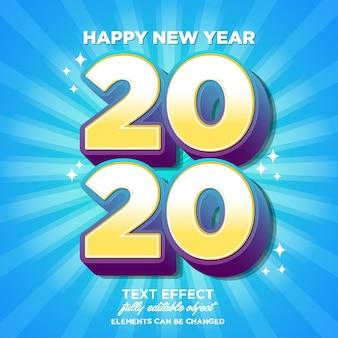 Feliz ano novo efeito de fonte de cartão