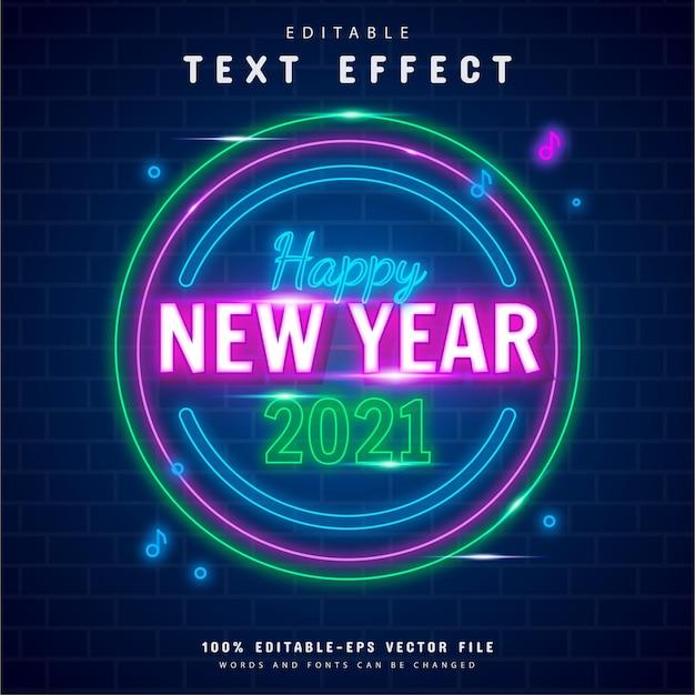 Feliz ano novo efeito de texto neon