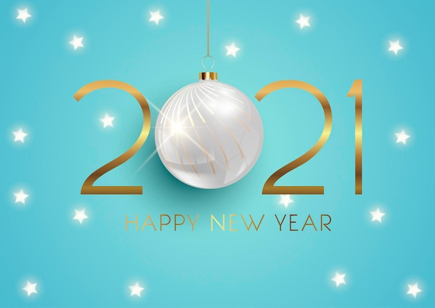 Feliz ano novo elegante com bugiganga suspensa e design de estrelas douradas