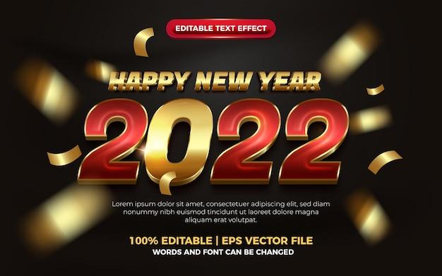 Feliz ano novo, elegante vermelho ouro negrito, efeito de texto editável em 3d