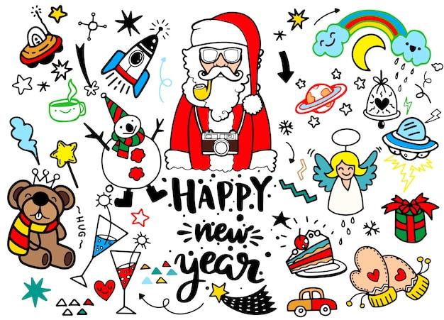 Feliz ano novo elemento de design em estilo doodle
