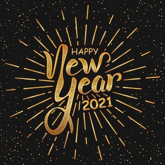 Feliz ano novo em estilo retro preto e dourado.