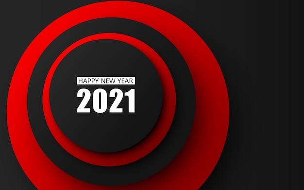 Feliz ano novo em fundo preto e vermelho.
