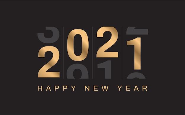 Feliz ano novo em fundo preto. números dourados.