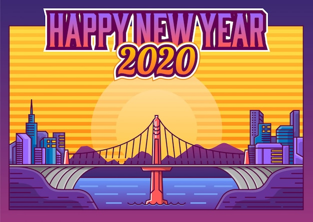 Feliz ano novo estilo retrô