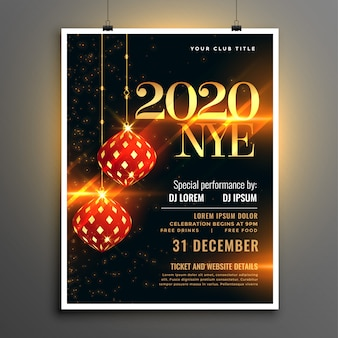 Feliz ano novo evento festa convite panfleto modelo