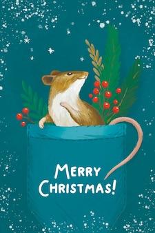 Feliz ano novo feliz natal mouse no bolso