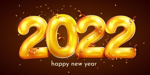 Feliz ano novo feriado dourado metálico números confetes cartaz festivo ou design de banner