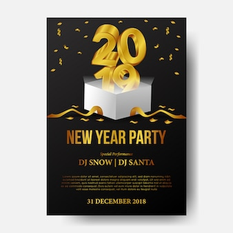 Feliz ano novo festa com ouro 3d com caixa aberta
