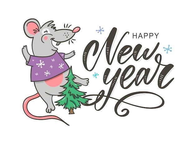Feliz ano novo festa com rato cartão