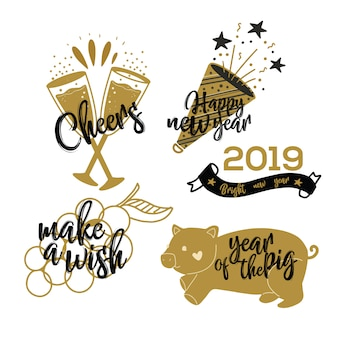 Feliz ano novo festa - entrega a coleção desenhada