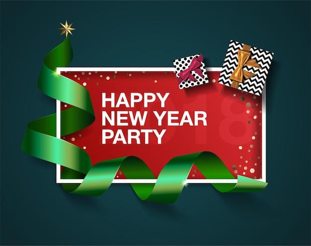 Feliz ano novo festa, fita verde realista, lugar para texto no quadro, confete, presente de natal.