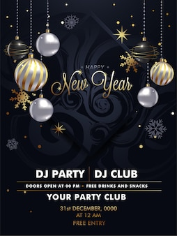 Feliz ano novo festa flyer design premium vector
