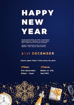 Feliz ano novo festa layout cartaz cartaz ou folheto modelo.