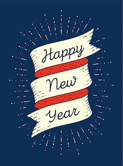 Feliz ano novo. fita no estilo de gravura