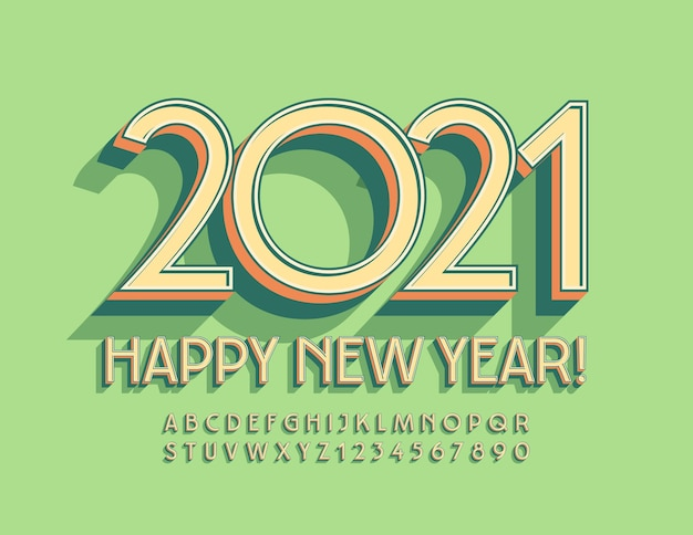 Feliz ano novo! fonte de estilo art deco. conjunto de letras e números do alfabeto isométrico vintage