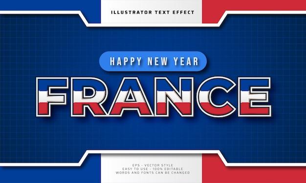Feliz ano novo frança 2021 efeito de texto editável
