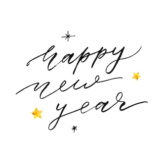 Feliz ano novo frase lettering caligrafia adesivo ouro