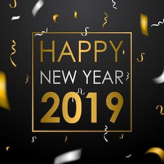 Feliz ano novo fundo com confete dourado e prateado