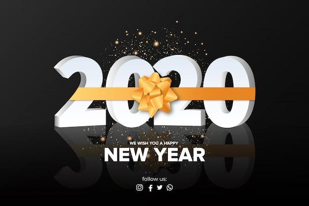 Feliz ano novo fundo com fita de ouro