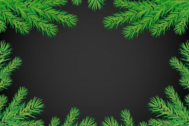 Feliz ano novo fundo com galhos de árvores de natal