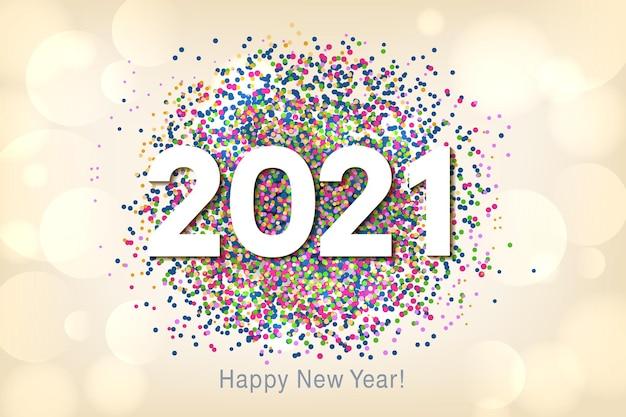 Feliz ano novo fundo com glitter multicolorido e confetes.