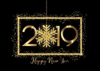 Feliz ano novo fundo com letras de ouro e design brilhante floco de neve