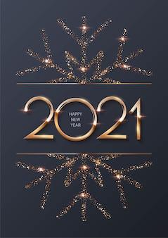 Feliz ano novo fundo com moldura de ouro e floco de neve.