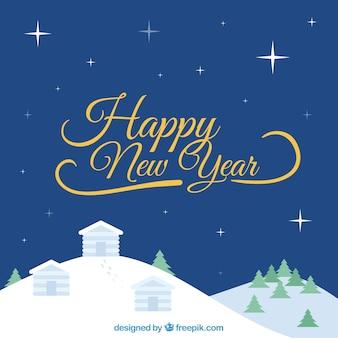 Feliz ano novo fundo com uma vila nevada