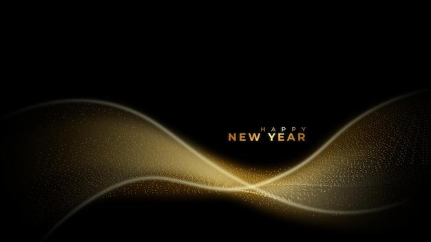 Feliz ano novo fundo de partículas vector raio dourado brilhante