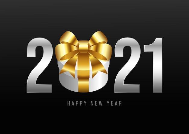 Feliz ano novo fundo decorativo com caixa de presente