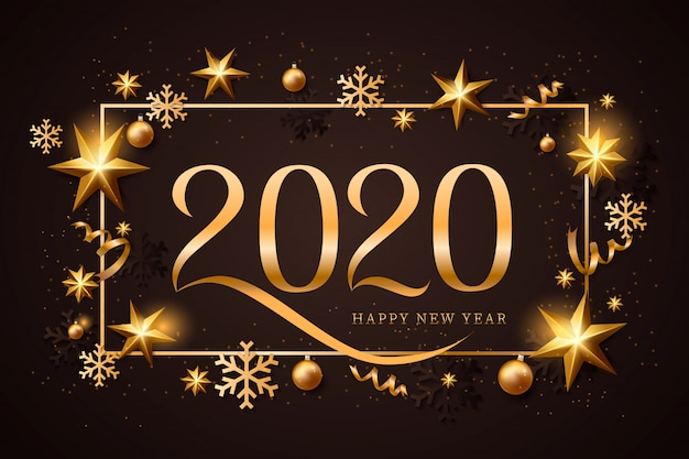 Feliz ano novo fundo dourado e preto com decoração de natal