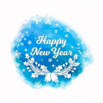 Feliz ano novo fundo em aquarela