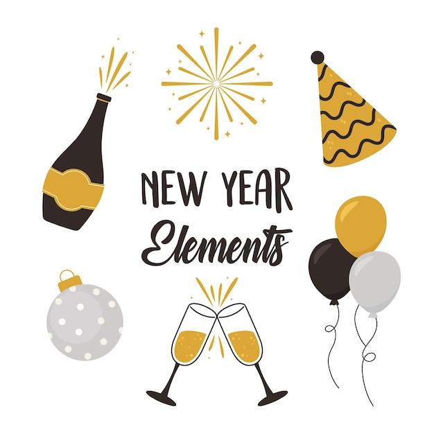 Feliz ano novo, garrafa de champanhe copos bola balões chapéu elementos ícones ilustração vetorial