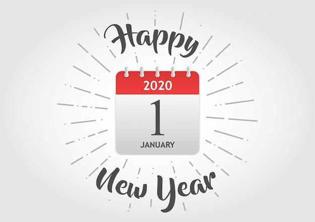 Feliz ano novo ícone de calendário