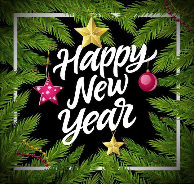 Feliz ano novo - ilustração realista em vetor moderno com texto de caligrafia branca. letras de caneta pincel desenhada de mão. agulha de pinho com bola de natal, estrelas, festão. perfeito como cartão de felicitações, convite