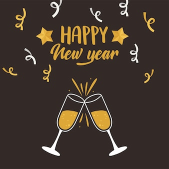 Feliz ano novo, ilustração vetorial de cartão de letras de confete com brinde de champanhe